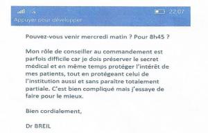 Extrait message Docteur BREIL