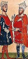 L'empereur Frederick II, (gauche) rencontre al-Kamil Muhammad al-Malik