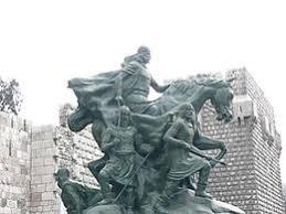 Statue équestre de Saladdin dans la citadelle à Damas