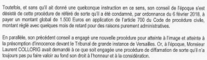 Avocat COLLORIG citation directe COLLORIG 16 novembre 2018