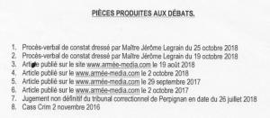 Pièces produites aux débats citation directe COLLORIG 16 novembre 2018